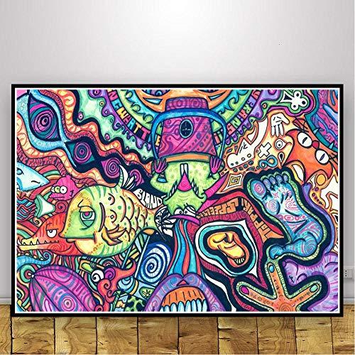 FYBSNDY Abstrakte Schwarzlichtbilder Kunst Psychedelic Trippy Poster Drucke Moderne Wand Leinwand Wandbilder Für Wohnzimmer Wohnkultur 40x50cm