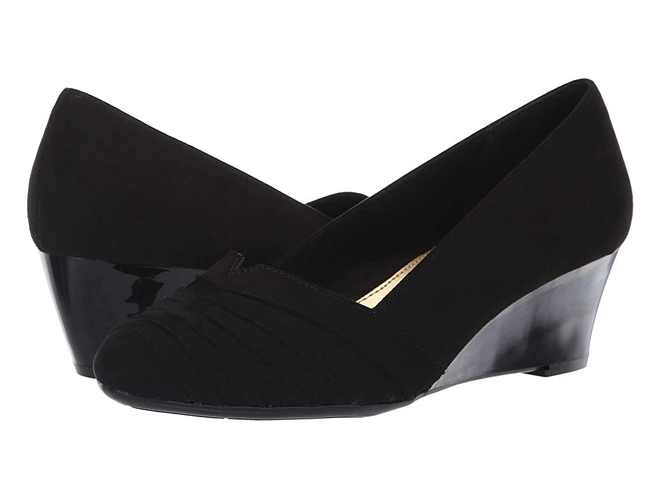 1940s Style Shoes, 40s Shoes Soft Style Gerdie Black Faux Suede Womens Wedge Shoes $54.95 AT vintagedancer.com