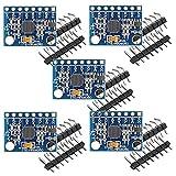 Aideepen 5個 GY-521 MPU-6050 MPU6050 3軸加速度計ジャイロスコープモジュール6 DOF 6軸加速度センサー DIYキット、16ビットADコンバーターデータ出力IIC I2C Arduino Raspberry Piと互換性があり【DC 3-5V】