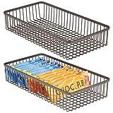 mDesign Set da 2 Porta posate universale in metallo – Organizer per posate da cassetto ideale anche per altri utensili da cucina – Portaposate per cassetti della cucina – bronzo