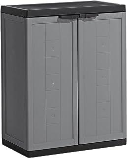 Kis Armoire Basse Jolly Gris-Noir, Plastique, 68 x 39 x 85 cm