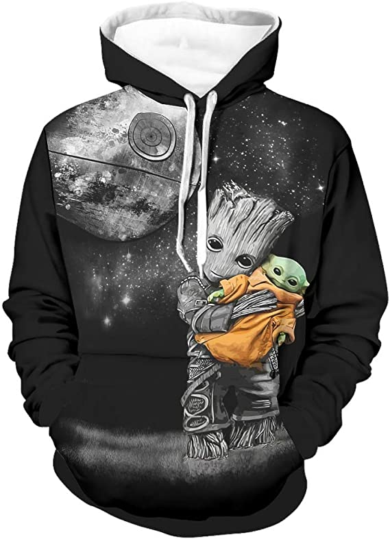 Baby Yoda Baby Groot Sweat /à capuche Star Wars Jedi Marvel Avengers Super Hero Unisexe