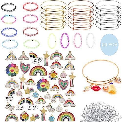 58Pcs DIY Craft Jewelry Making Set,31Pcs DIY Kit Rainbow Charm Bracelets,15Pcs Adjust Wire Expandable Bangle,12Pcs Choker Necklace,Personalized Handmade Bracelet Necklace Sets for Women Girl