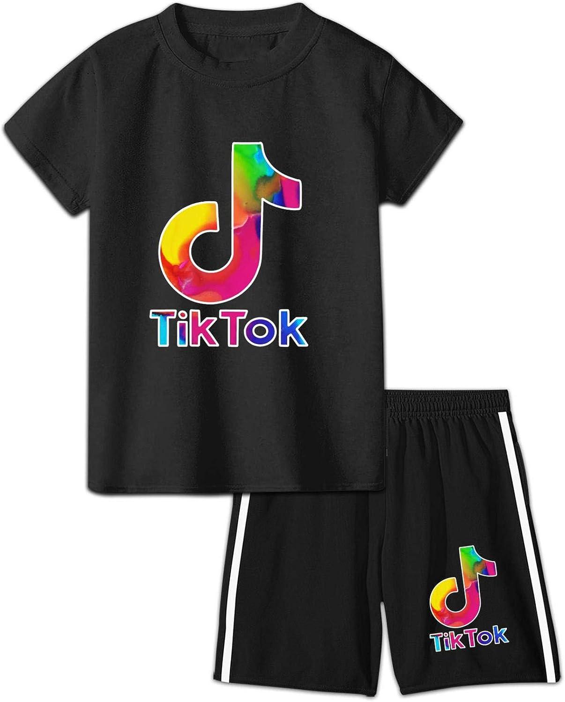Now free shipping Kids TIK Tok T-Shirt Shorts 2 Piece Short Sets Summer cheap Running