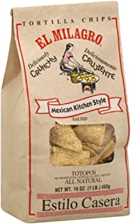 El Milagro Tortilla Chips Totopos, 16-Ounce (Pack of 6)
