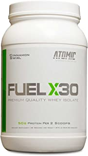 Delicious Cinnamon Swirl Flavor, Fuel X30 Premium Quality Whey Isolate Protein, Atomic Strength Nutrition , 2 Pounds, 25g Protein Per Scoop