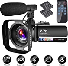 Video Camera Camcorder with Microphone YouTube Camera Recorder 2.7K Ultra HD 20FPS 30.0MP..