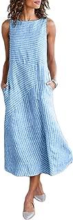 Womens Sleeveless Striped Summer Casual Long Maxi Dresses