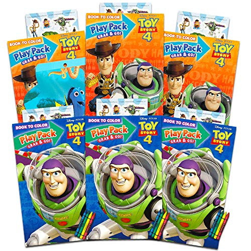 Disney Pixar Toy Story 4 Party Favors Pack ~ Bundle of 6 Toy Story Play Packs Filled with Stickers, Coloring Books, Crayons with Bonus Finding Dory Stickers (Toy Story Party Supplies)