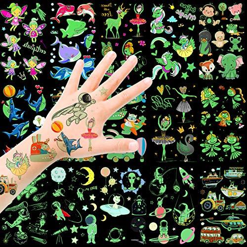 HOWAF Tattoo Kinder, Temporäre Tattoos Set, im Dunkeln leuchten Tattoos Kinder, Weltraum Tier Einhorn Fee Fahrzeuge Dolphin Kindertattoos Aufkleber für mädchen Jungen Kindergeburtstag Mitgebsel