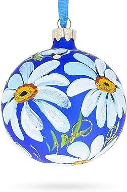BestPysanky Daisy Flowers on Blue Glass Ball Christmas Ornament