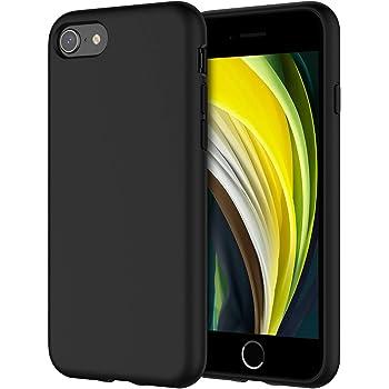 """JETech Funda de Silicona Compatible iPhone SE 2020, iPhone 8 y iPhone 7, 4,7"""", Sedoso-Tacto Suave, Cubierta a Prueba de Golpes con Forro de Microfibra, Negro"""