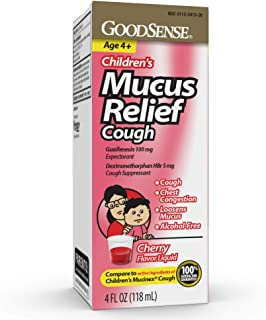 Good Sense Children's Mucus Relief Cough Syrup, Cherry-Flavored Cough Suppressant for Kids