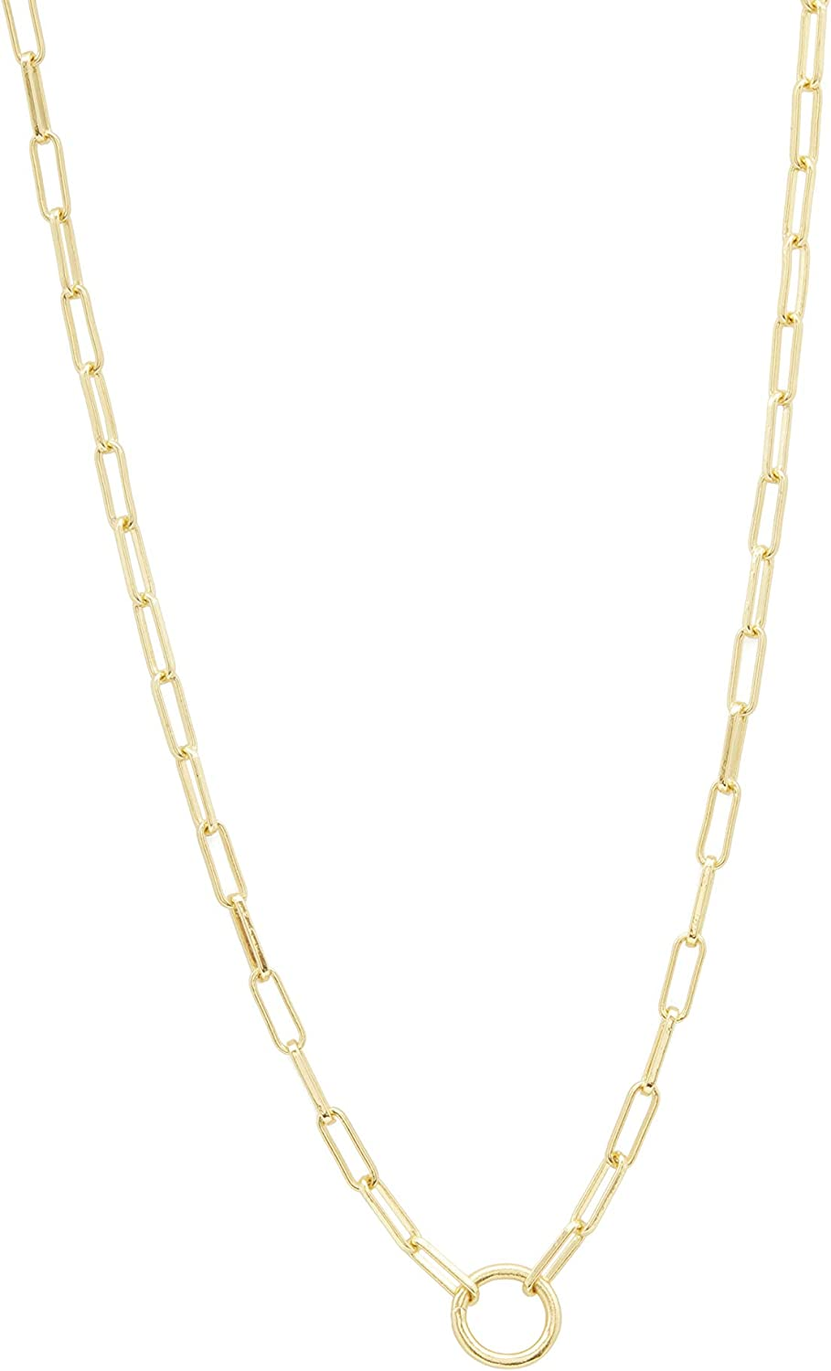 gorjana Women's Parker Paperclip Link Chain Necklace, 18k Gold Plated, Chunky Clasp