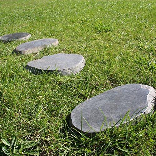 wohnfreuden 4er Pack Naturstein Trittstein Flußstein ca. 30 cm Findlinge für den Garten