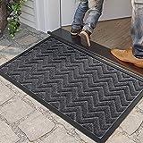 DEXI Door Mat Front Indoor Outdoor Doormat,Small Heavy Duty Rubber Outside Floor Rug for Entryway Patio Waterproof Low-Profile,17'x29',Dark Grey