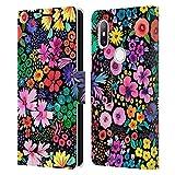 Head Case Designs sous Licence Officielle Ninola Astucieux Petit Noir Modèles Florals Coque en Cuir...