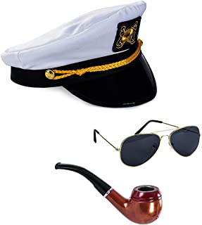 Yacht Captain Hat and Sailor Hat with Corn Cob Pipe & Aviator Sunglasses Sailor Costume