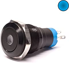 Lamptron Black Vandal-Resistant Switch, 16mm Face, Momentary Type, Dot Illuminated, Blue LED