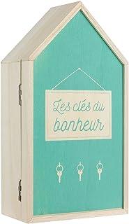 LA BOITE A BT6678 Boite à Clés, Bois, Beige-Vert, 15 x 8 x 27,5 cm