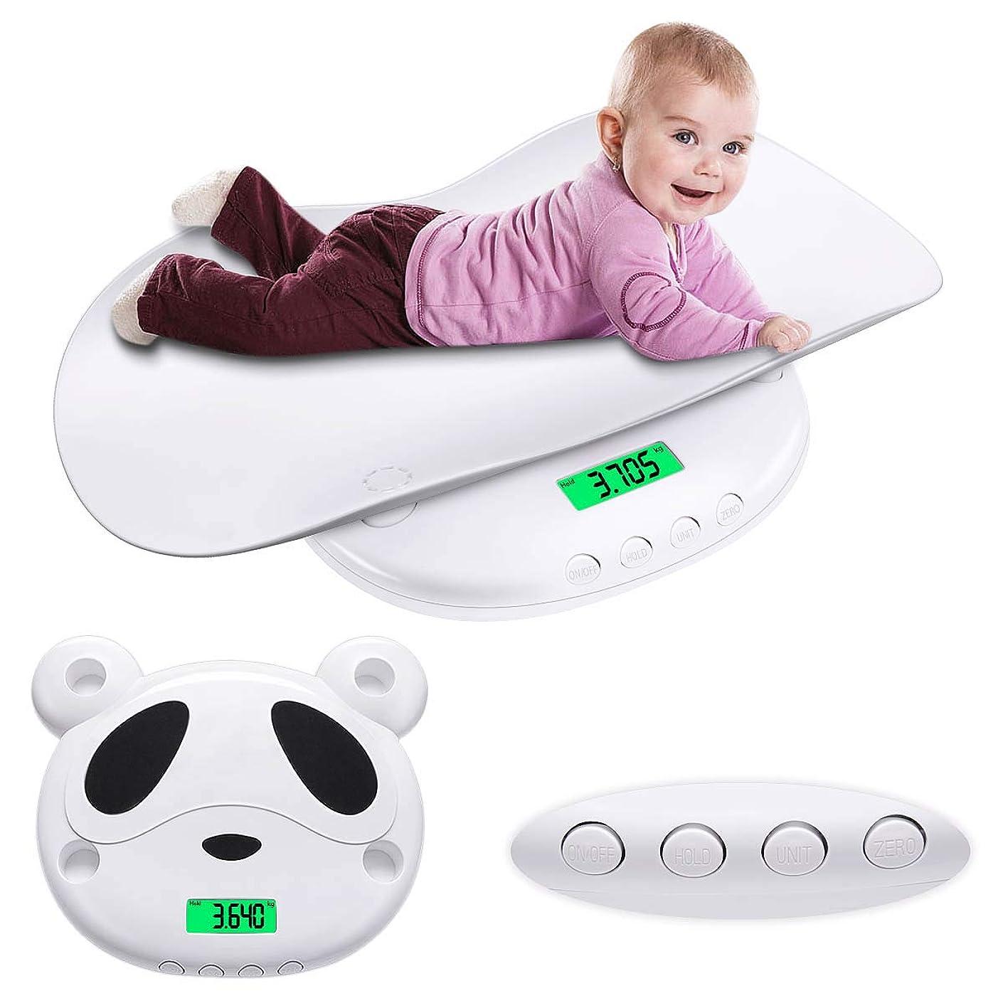 までおしゃれな恥ベビースケール デジタル パンダ 新生児体重計 高精度 5g単位 はかり 赤ちゃん用 乳幼児 授乳 多機能 風袋機能付き 単位切替機能 表示固定 赤ちゃんから成人まで使える 100g~60kg