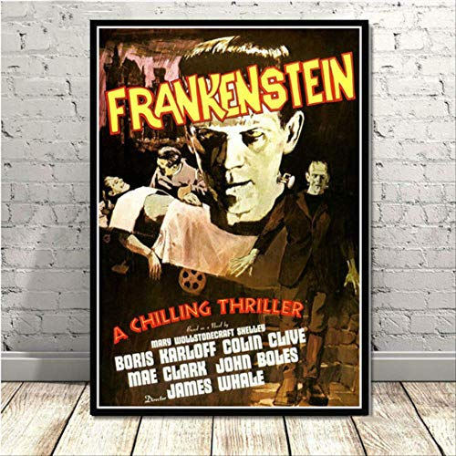 nobrand Frankenstein Universal Monster Horrorfilm Vintage Poster Kunst Leinwand Malerei Wandbilder Wohnzimmer Wohnkultur 40 * 60 cm Kein Rahmen