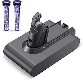 Powerextra 3500mAh Dyson V6 Battery Compatible with Dyson 21.6V Li-ion Battery 595 650 770 880 DC58 DC59 DC61 DC62 Animal DC72 Series Handheld Replacement Battery with Two fliters
