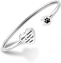 PLITI Dog Lovers Paw Print Bangle Bracelet When I Needed A Hand I Found Your Paw Bracelet for Dog Mom