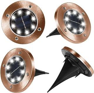 Seseria Solar Ground Lights Outdoor, Disk Lights Garden Pathway Outdoor in-Ground Solar Lights with 8 LED(4 Pack; White Light) (Bronze)