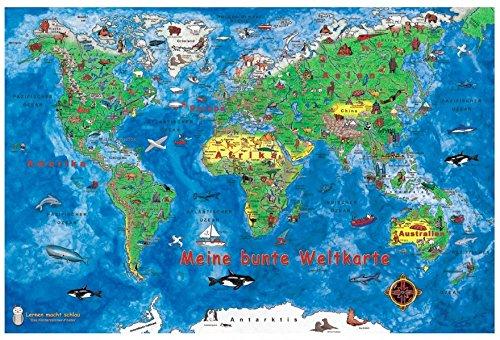 Meine bunte Weltkarte: 10 Postkarten im Pack + 1 Karte gratis