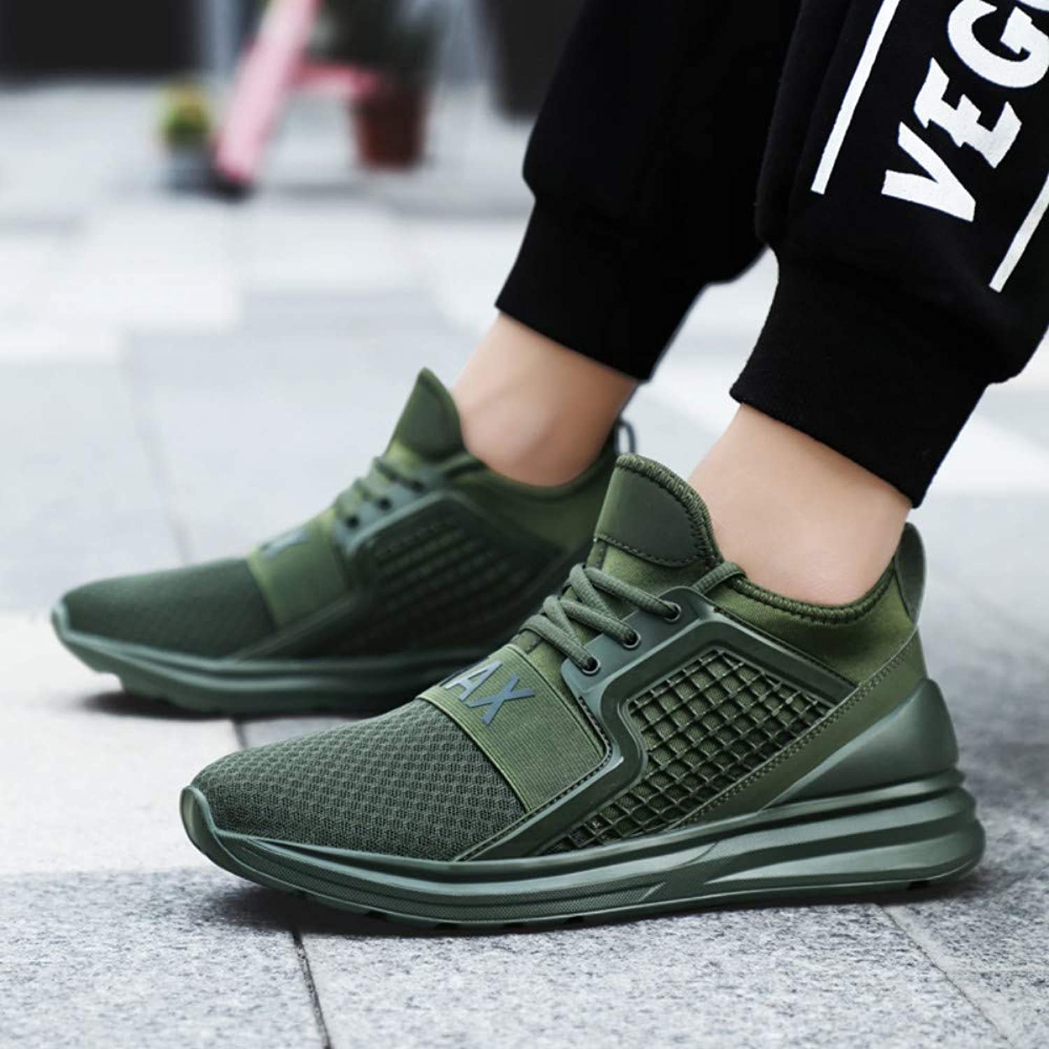 YAYADI Men'S Sneakers Breathable Air Mesh Men Running shoes Training Althetic Outdoor Sport shoes Green Sneakers