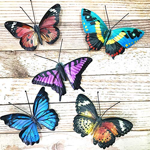 VOKPROOF Metal Butterfly Wall Decor - 5 Pack Butterflies Art Decorations for Outdoor Garden,Patio,Fence