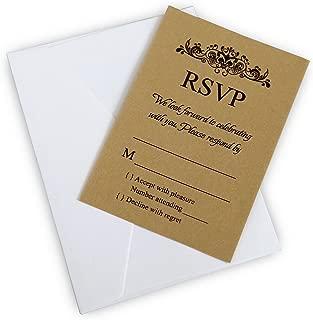 Doris Home 100 pcs/lot Gold Rsvp cards with white envelopes for wedding invitations(100, Gold)