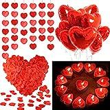 MMTX Set de Deco para el Día de San Valentín,Globos Corazon Rojo,Pétalos de Rosa, Velas en Forma de Corazón Rojo para Bodas Nupcial Aniversario y Compromiso Decoración Día de La Madre