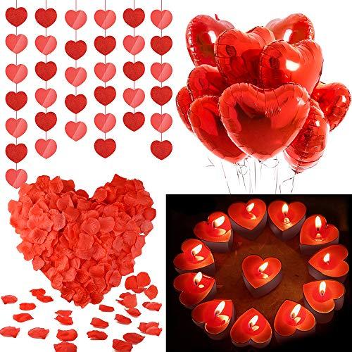 💑Lo que obtienes: Incluye 6 paquetes de cuerda colgante para corazones, 10 globos en forma de corazón rojo de mylar, 50 candelitas de velas de amor, 1000 paquetes de pétalos de rosa artificiales falsos y cinta de globo rojo, llena todo tu espacio con...