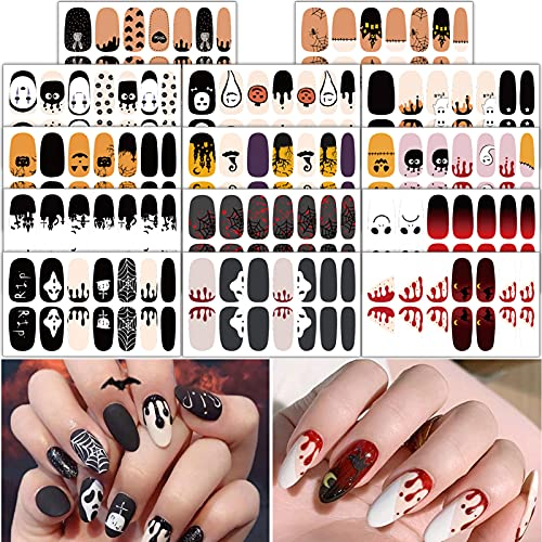 TailaiMei 14 Sheets Halloween Nail Wraps Adhesive Nail Art Stickers Full Wrap Strips with 2 pcs Nail Files for DIY Nail Decals (Bleeding Style)