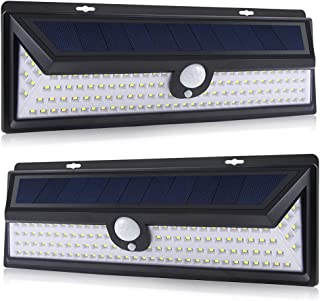 Outdoor Solar Light 2X 118 LED with Motion Sensor Wide Angle Waterproof Outdoor Security Lights for Garage Patio Garden Driveway Yard-Auto,White Light (2X118LED)
