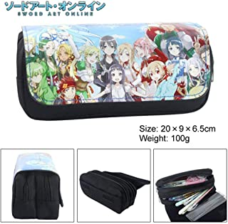 Bowinr Sword Art Online Pencil Case, Japanese Anime Large Capacity Stationery Pouch Bag with Zipper for School & Office(Style 01)