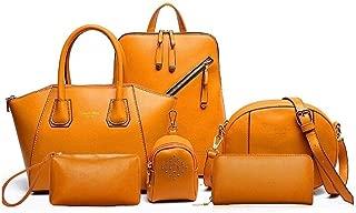 College Backpack Student Bag 6 Piece Women's Tote Satchels Top Handle Shoulder Crossbody Bags (Color : Brown, Size : L)