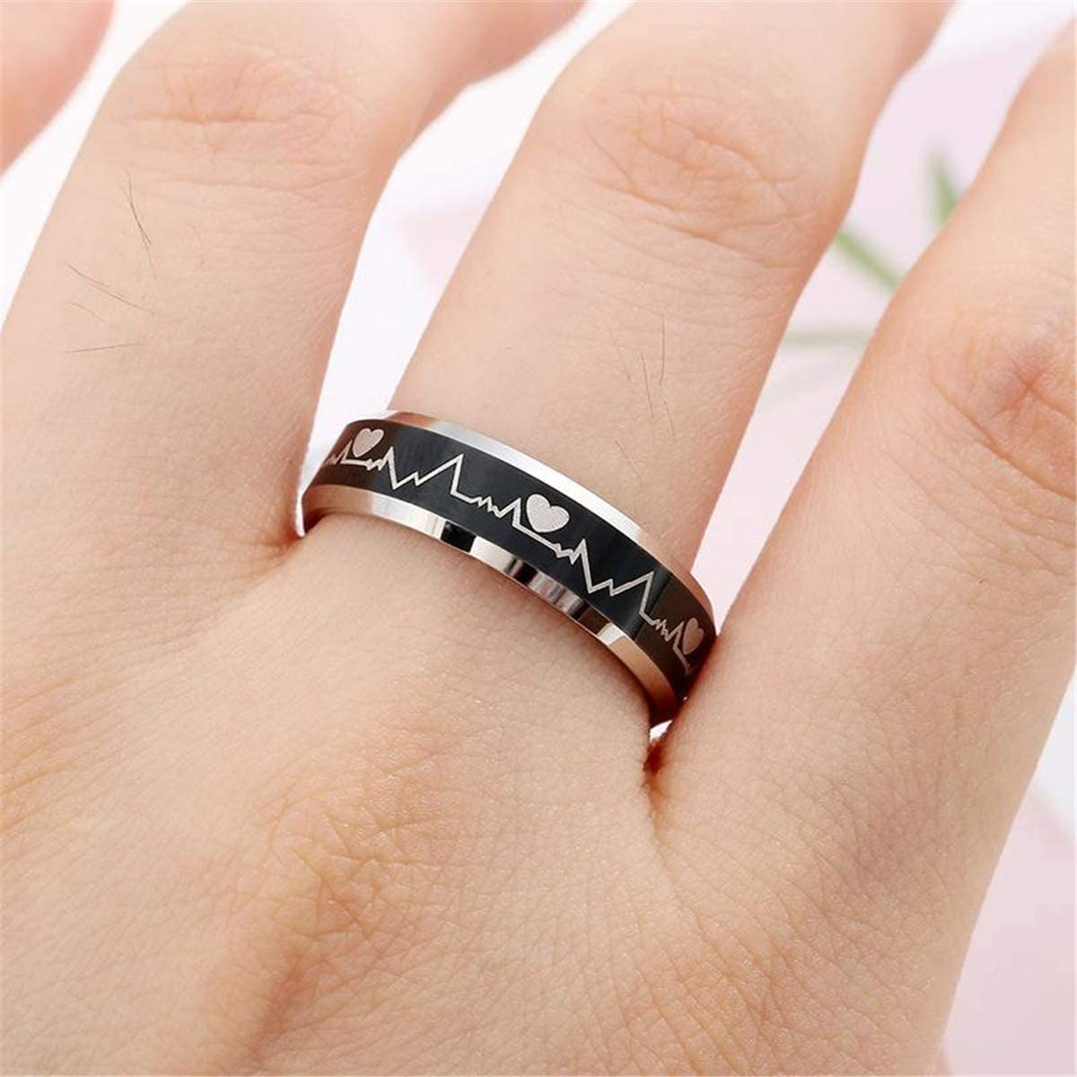 nylry 4Pcs Stainless Steel Fidget Spinner Rings for Women Men Sun and Moon Ring Chain Cool Relieving Anxiety Ring Wedding Promise Band Size 6-10