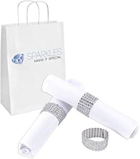 Sparkles Make It Special 25-pcs Rhinestone Diamond Napkin Rings - Silver - Wedding Party Dinner Banquet Reception Catering Special Event - Handmade Bling Decoration