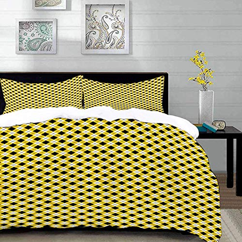 Qoqon bedding - Duvet Cover Set, Geometric,Argyle Pattern with Rhombuses and Dotted Lines Grid Plaid Design,Yellow Black and Whi,Microfibre Duvet Cover Set with 2 Pillowcase 50 X 75cm
