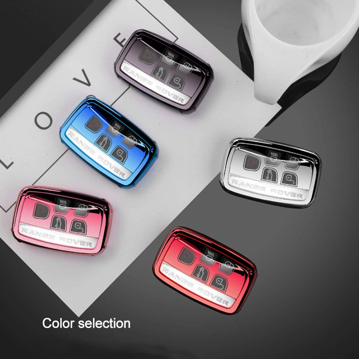 A//A TPU Cover Suitable for Land Rover Remote Control Key Fob,5 Buttons Smart Key Case Compatible with Land Rover Discovery//Sport//Evoque//Aurora//Jaguar//F-pace,with Leather Keychian-Silver