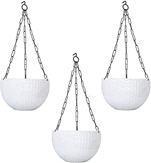Truphe White Color Balcony Hanging Pots Set of 3