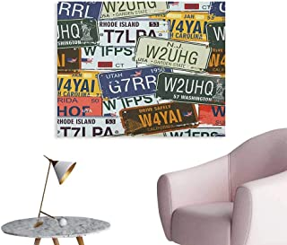 Anzhutwelve Vintage Painting Post Original Retro License Plates Personalized Creative Travel Collections Art Wall Poster Green Blue Yellow W28 xL20