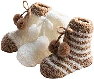 huixu, 3 pares de calcetines de felpa de lana de coral para bebés recién nacidos, bonitos y gruesos, cómodos, cálidos, calcetines para dormir, calcetines de tubo