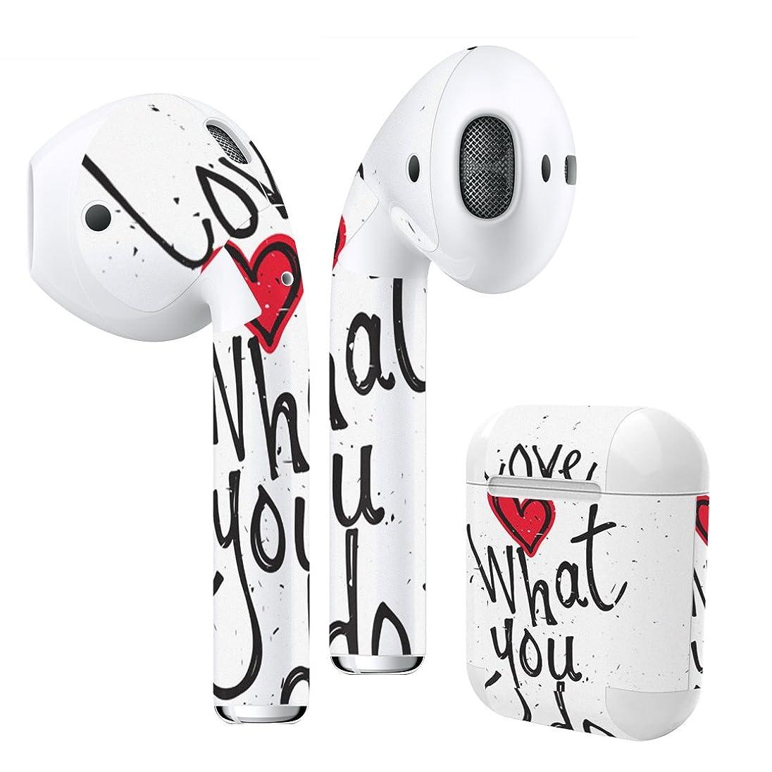 変更可能そんなにグリップigsticker Air Pods 専用 デザインスキンシール airpods エアポッド apple アップル AirPods 第一世代(2016)airpods2 第二世代(2019)対応 イヤホン カバー デコレーション アクセサリー デコシール 008634 ユニーク 英語 文字 ハート