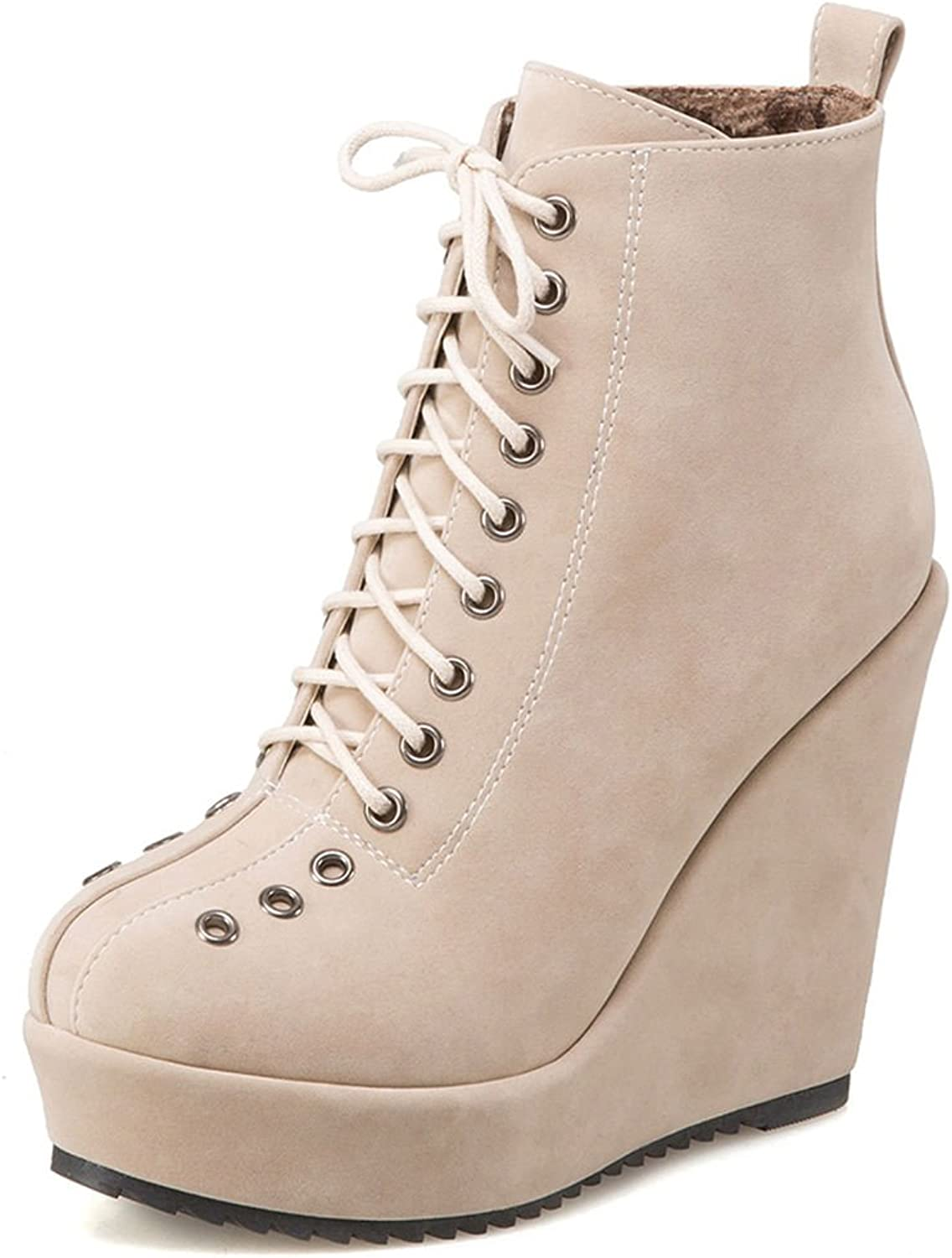SaraIris Cross-Tied Platform Increased Inside Solid Ankle Boots for Women