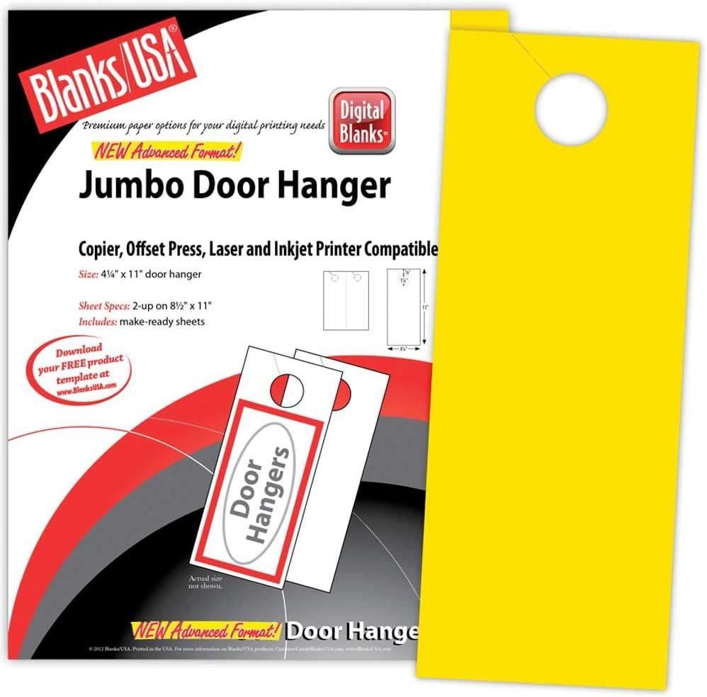 Blanks USA Jumbo Door Hanger Sunfish Cheap mail order shopping 2-up Popular products 500pk Yellow