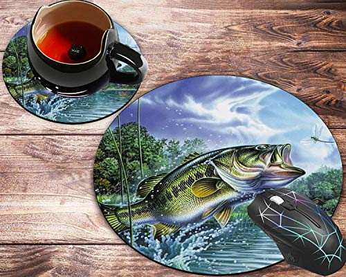 Round Mouse Pad and Coasters Set, Fishing Bass Mouth Mousepad, Non-Slip Rubber Round Mouse Pad, Customized Mouse Mat for Working and Gaming